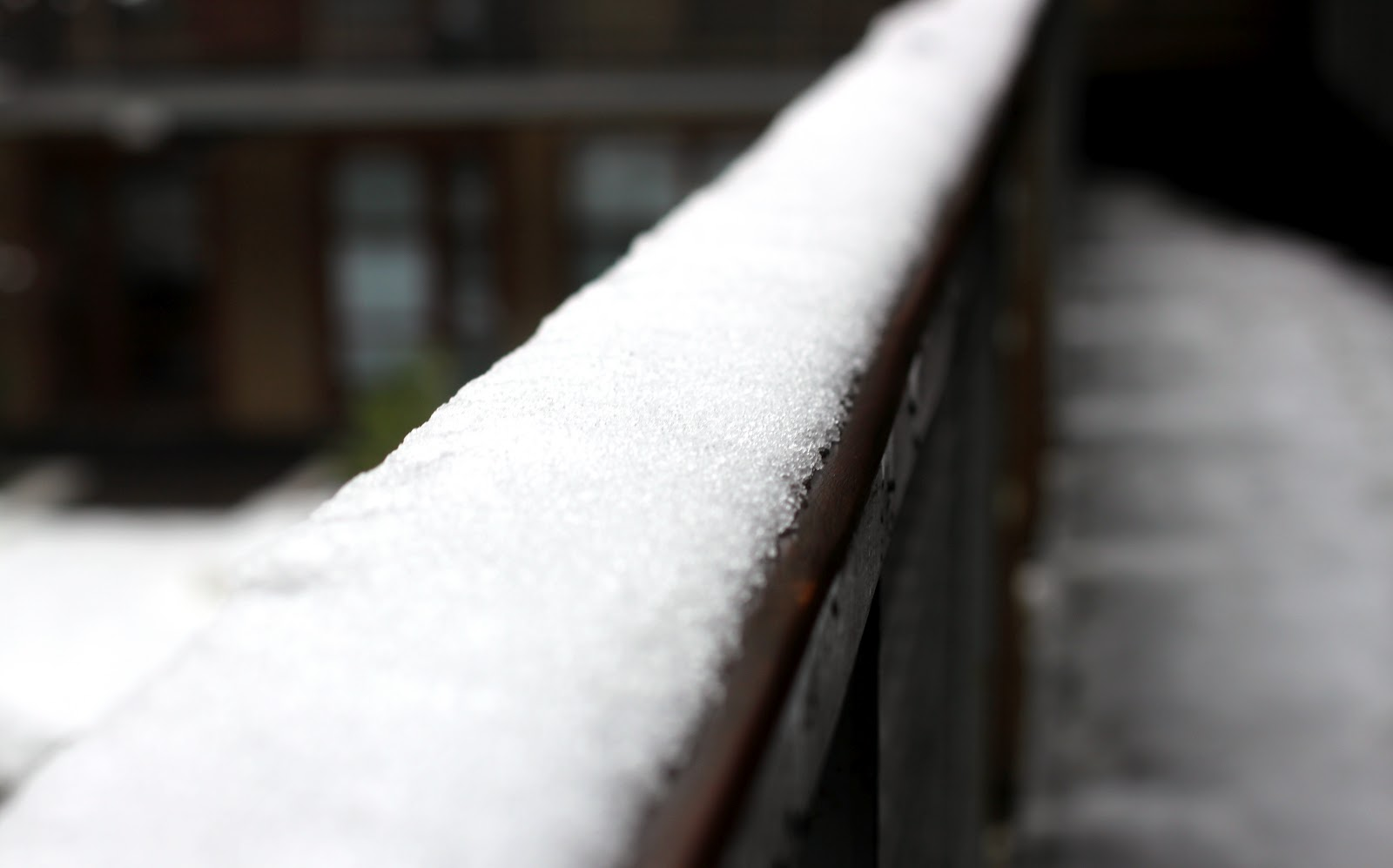 Snow on my banister in London