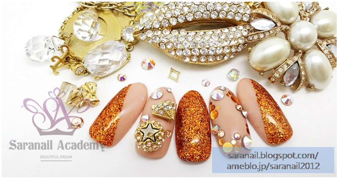 For Party Nail Art/ Bronze Color Nail Art/ Beige Color Nail Art/ Swarovski Part/ Jewelry Deco Part/ Easy to follow Nail Art