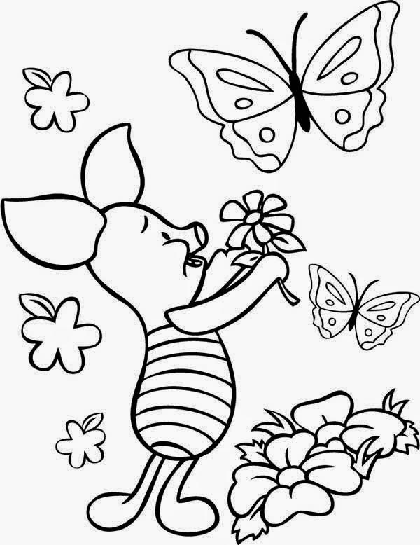 Mewarnai gambar bunga dan kupu-kupu untuk anak 8