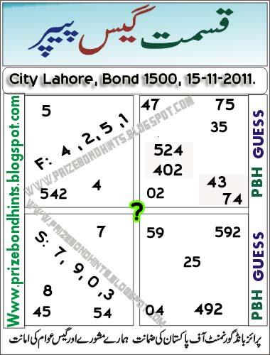 Prize bond guess paper at lahore draw 1500 15 11 2011 prize bond