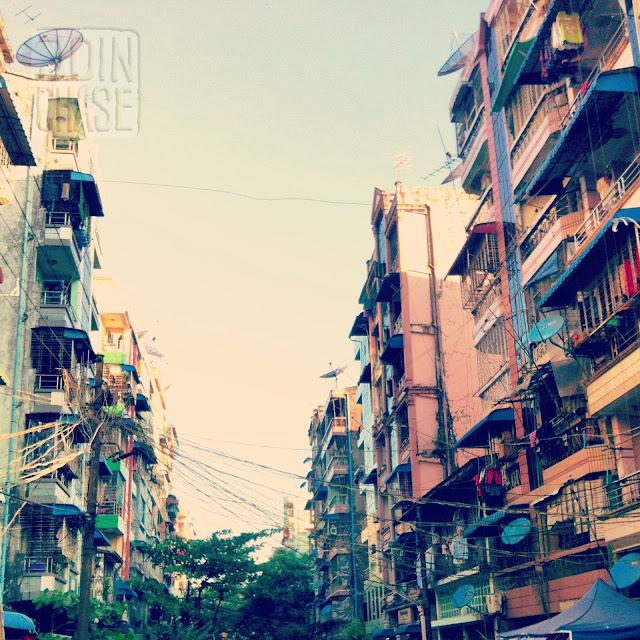 A street in Ahlone Township in Yangon, Myanmar.