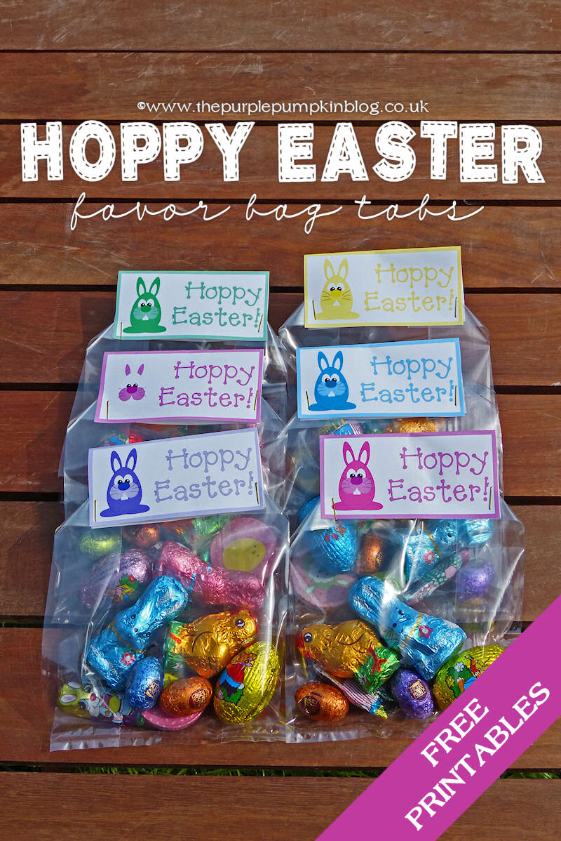 'Hoppy Easter' Favour Bag Tabs – Free Printables