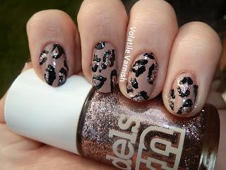 Nude-pink-glitter-leopard-print-nail-art