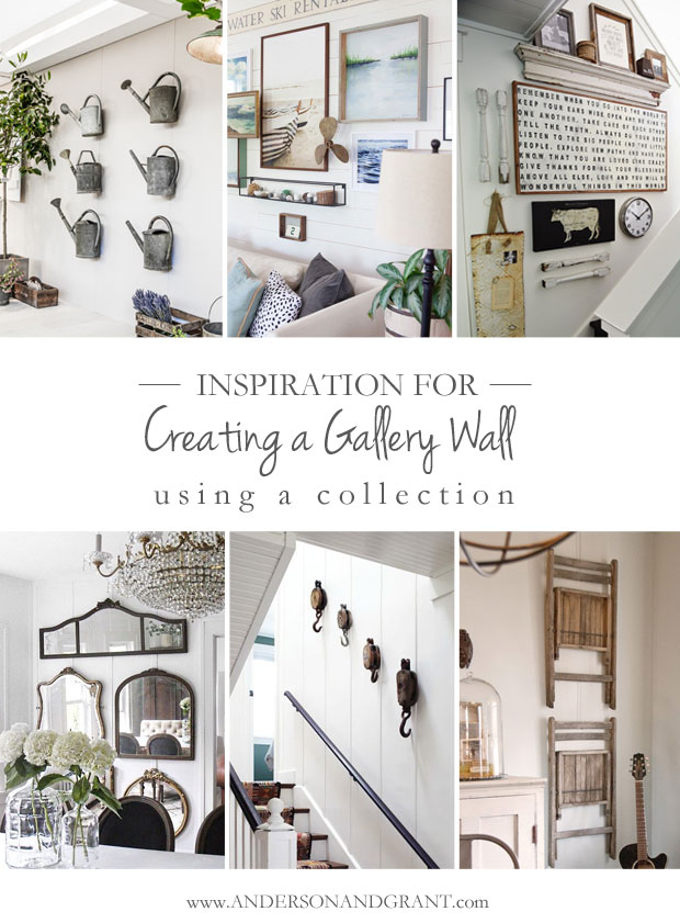 Have a bare wall in your home, but not sure how to decorate it?  Check out this post filled with inspiring ideas for using a collection of items to create a gallery wall in your home.  ||  www.andersonandgrant.com