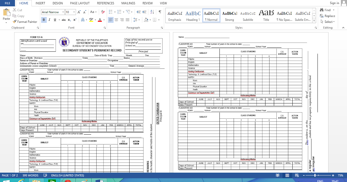 Free Editable K 12 Form 137 Template Download For