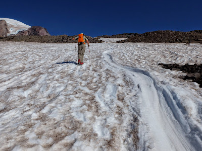 On the Muir Snowfield, A Hiker Alongside a Glissade Path