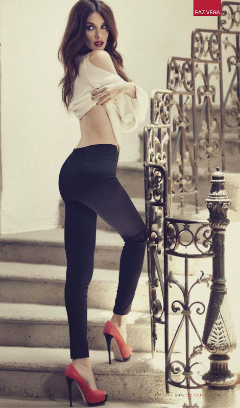 Paz Vega in tight black pants posing in GQ Mexico October 2012 issue