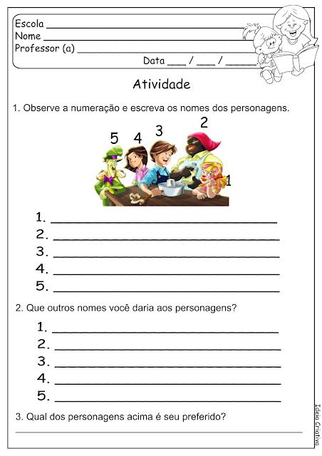 Atividade Escrita Espontânea Sítio do Picapau Amarelo