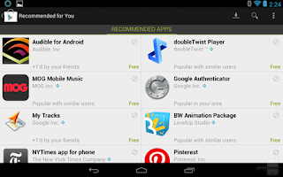 Recommendations page  Android Store Mobile Version