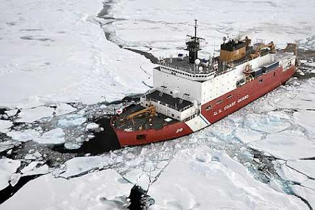 Coast Guard Cutter Healy breaks ice ahead