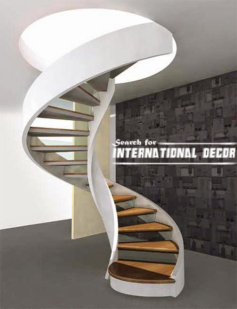 Spiral staircase to the second floor or attic in a private for Spiral staircase layout design