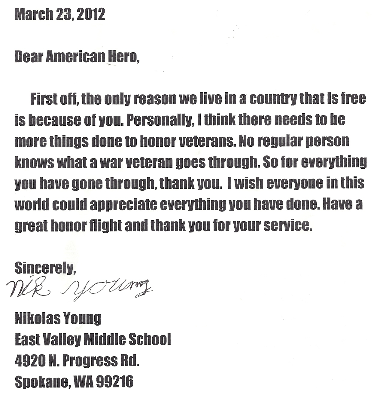 Veterans Day Letter From Grade  Thank You Sample