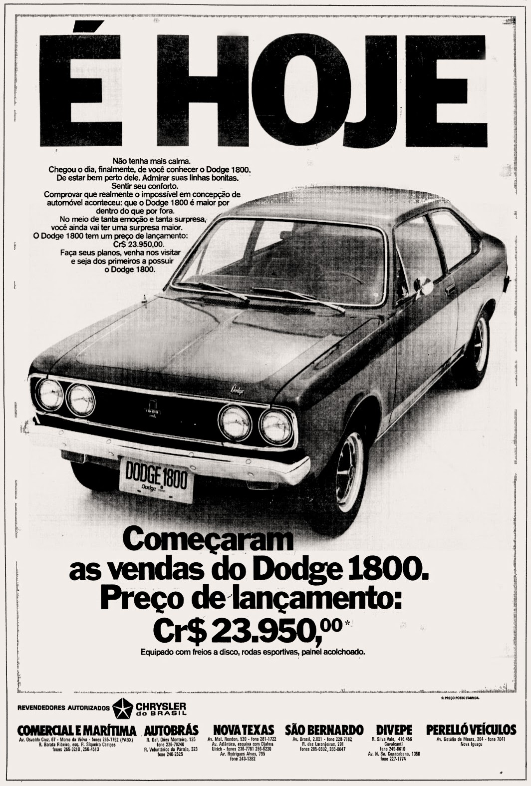 Chrysler. 1973. brazilian advertising cars in the 70. os anos 70. história da década de 70; Brazil in the 70s. propaganda carros anos 70. Oswaldo Hernandez.