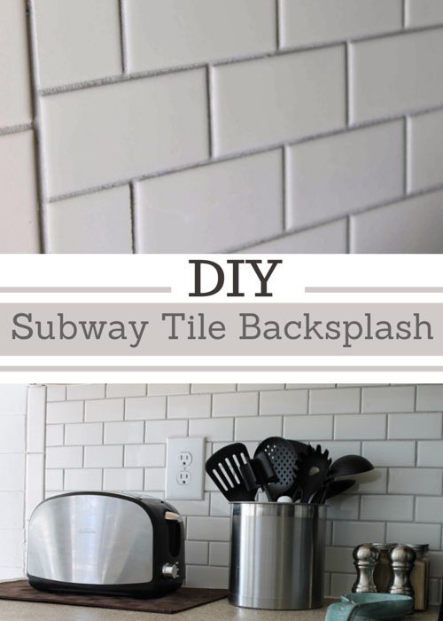 completed subway tile backsplash and all the steps on installing it