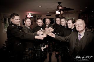 The groomsmen toast Colin
