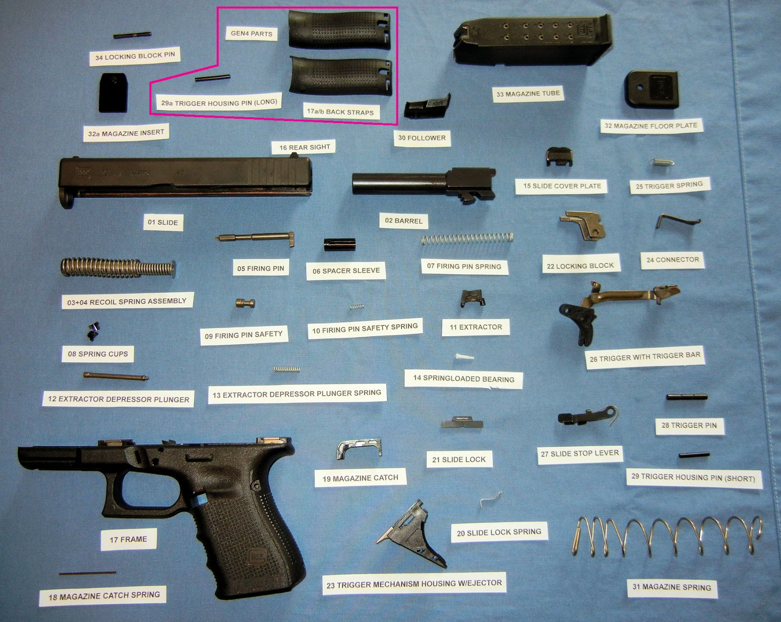 ammo and gun collector glock internal parts diagrams rh ammoandguncollector com glock 22 parts diagram glock 22 parts diagram