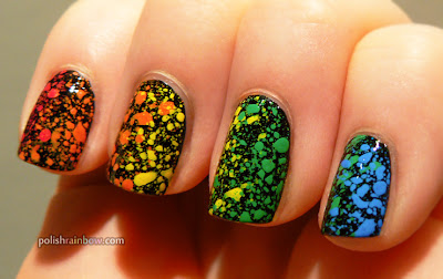 Rainbow splatter nails.