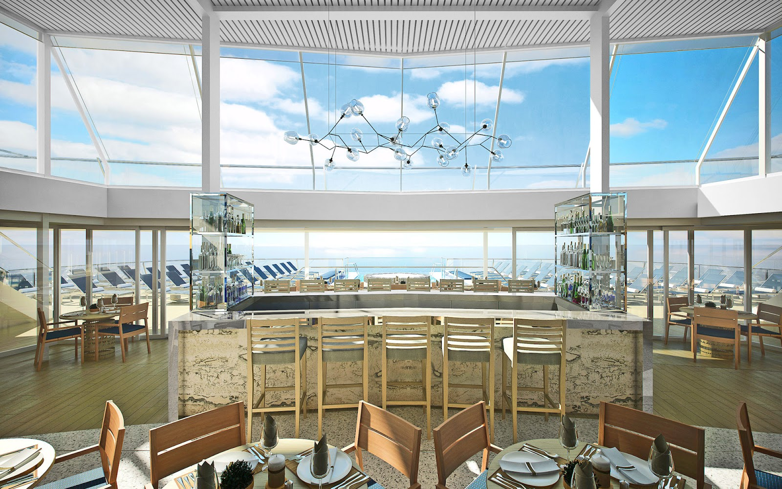 The two-story Explorer Lounge offers incredible views of the voyage ahead. Photo: ©Viking Cruises.