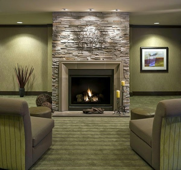 Living room design ideas natural stone wall in the interior for Living room design ideas with fireplace