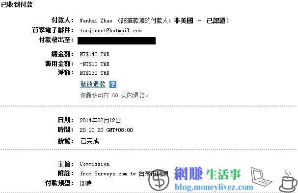 Surveys 台灣市調網 第2次收款圖