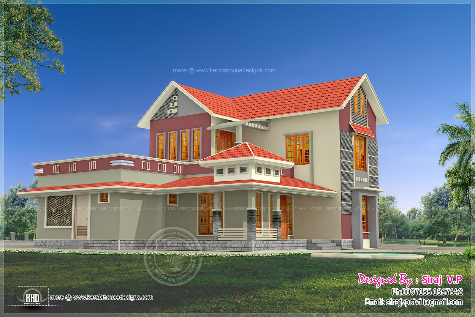 Beautiful 4 Bedroom Villa Elevation In 2000 Sq Ft Kerala
