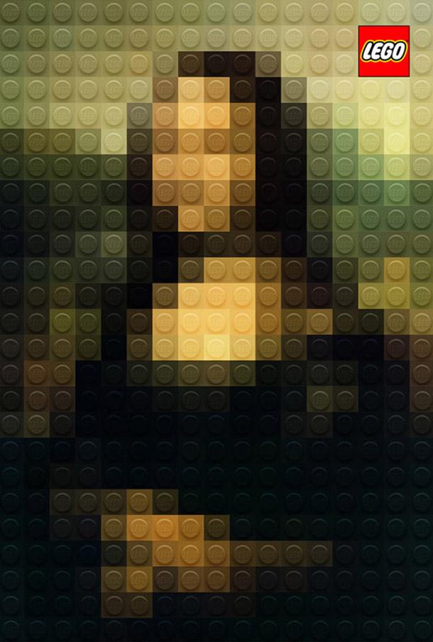 "Obras Primas da Pintura em LEGO por Marco Sodano - ""Mona Lisa"" de Leonardo da Vinci"