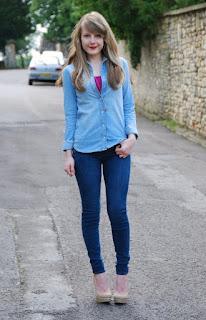 kemeja celana denim jeans wanita