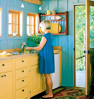 Colorful kitchen design small spaces