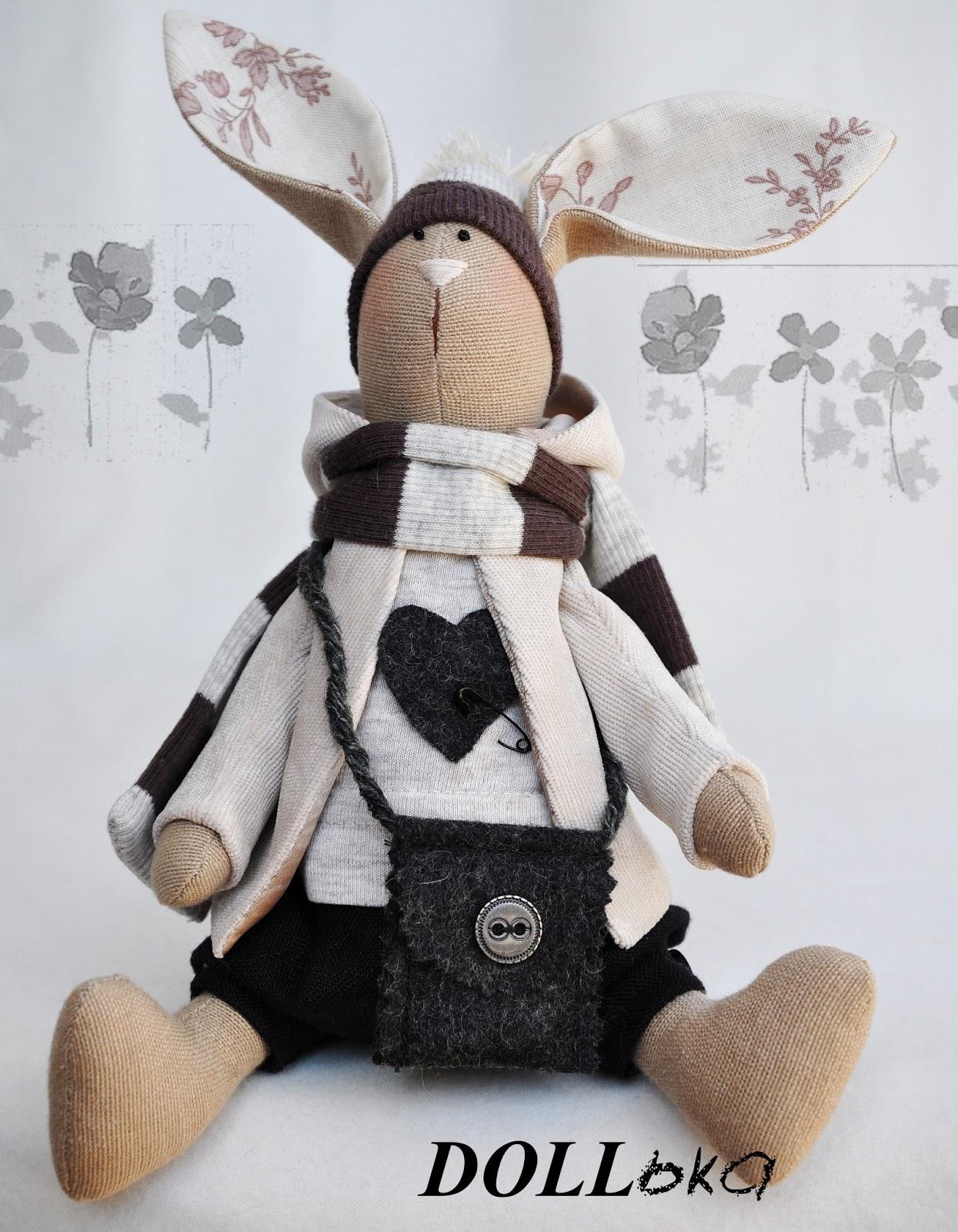заяц Макс. текстильная игрушка ручной работы