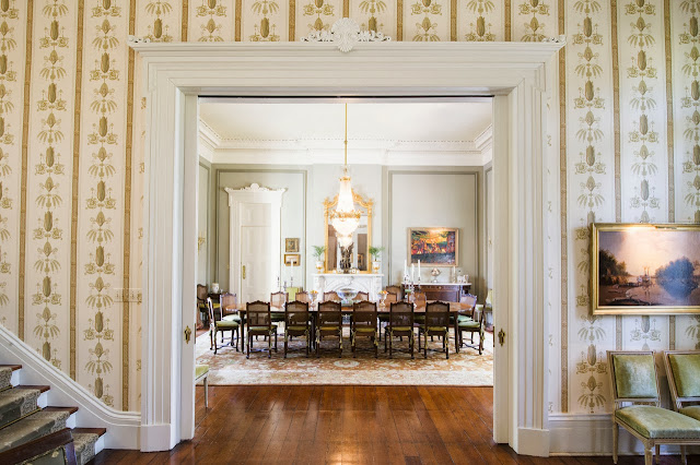 Dining room in a New Orleans mansion with Italiante furnshings