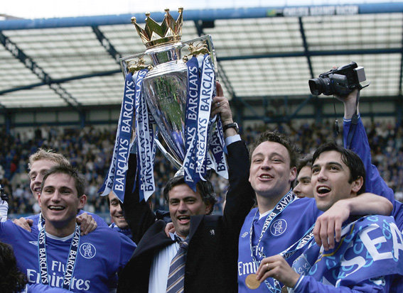 HAPPIER TIMES: Mourinho lifts the Premier League trophy in 2005