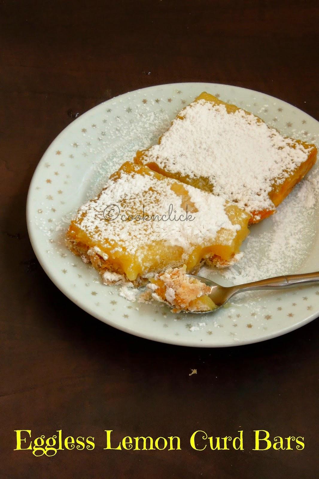 Eggless Lemon curd bars, Bars with eggless lemon curd