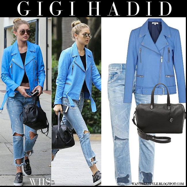 Gigi Hadid in blue leather Elizabeth and James Corlyn jacket with distressed boyfriend citizens of humanity emerson jeans and black bag what she wore july 21