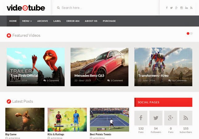 Video Tube Responsive Blogger Template