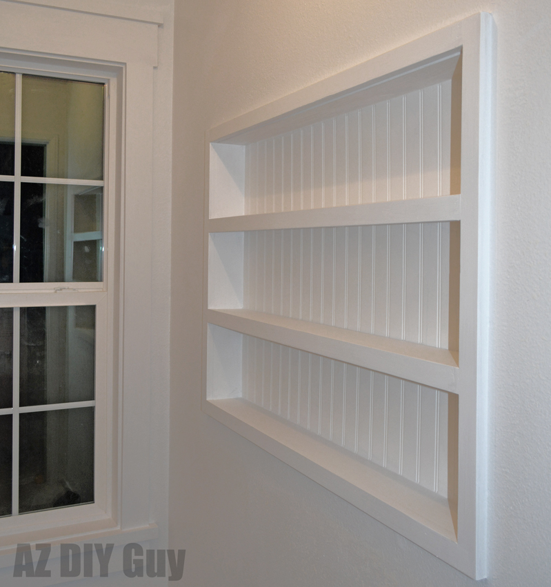 az diy guy 39 s projects diy built in the wall shelving. Black Bedroom Furniture Sets. Home Design Ideas