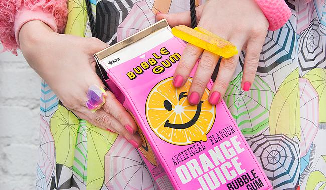 Skinny Dip bag, novelty bag, neon pink