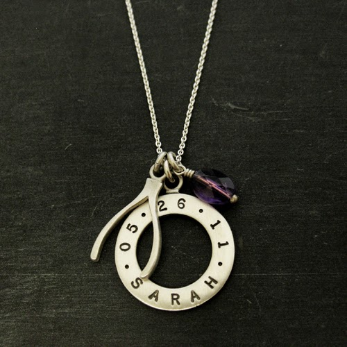 Sterling Silver Good Luck Wishbone Name Necklace