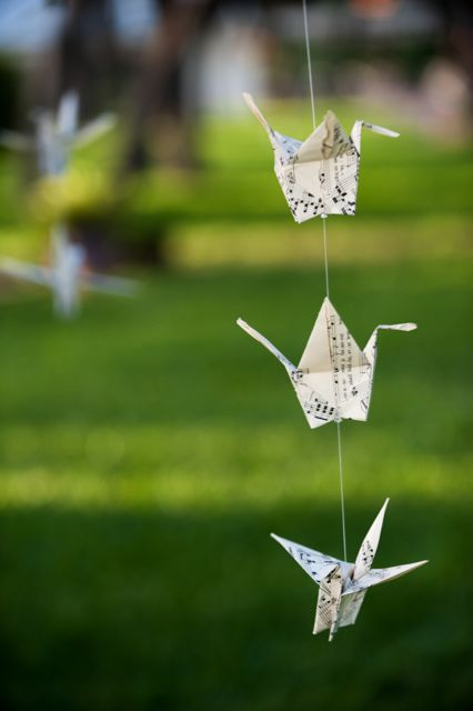 texas wedding decor paper cranes