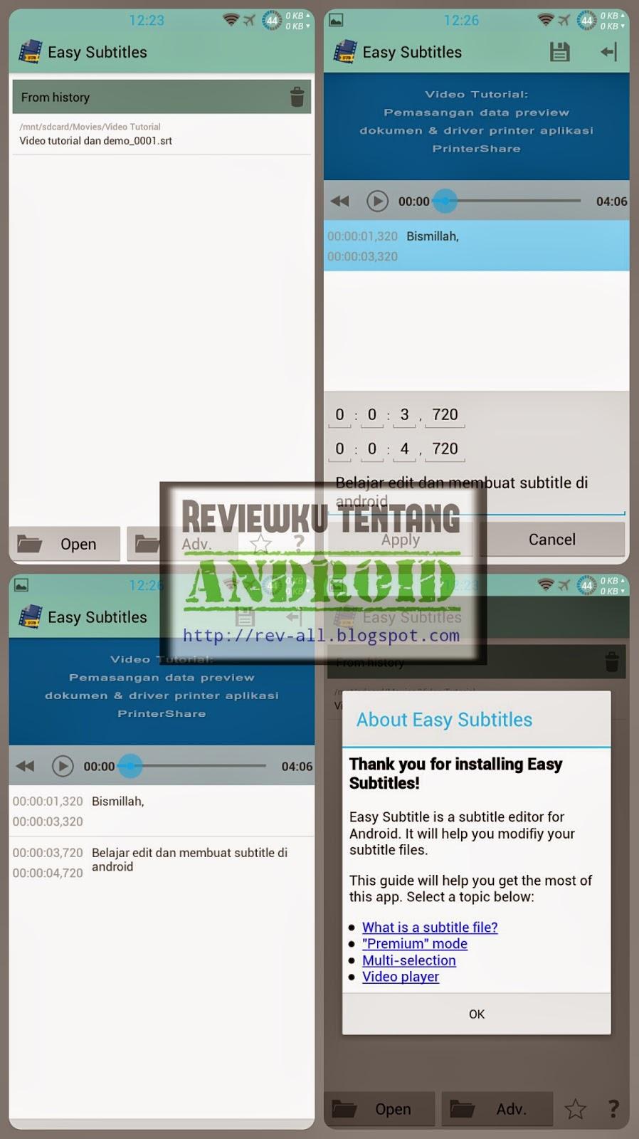 Tampilan aplikasi EASY SUBTITLES - membuat dan mengedit subtitle di android dengan mudah (rev-all.blogspot.com)