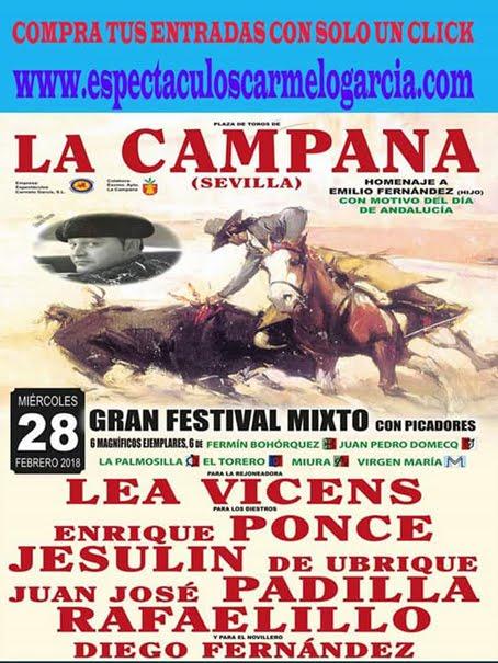 CARTEL:LA CAMPANA (SEVILLA) DÍA 28-02-2018 GRAN FESTIVAL MIXTO CON PICADORES.