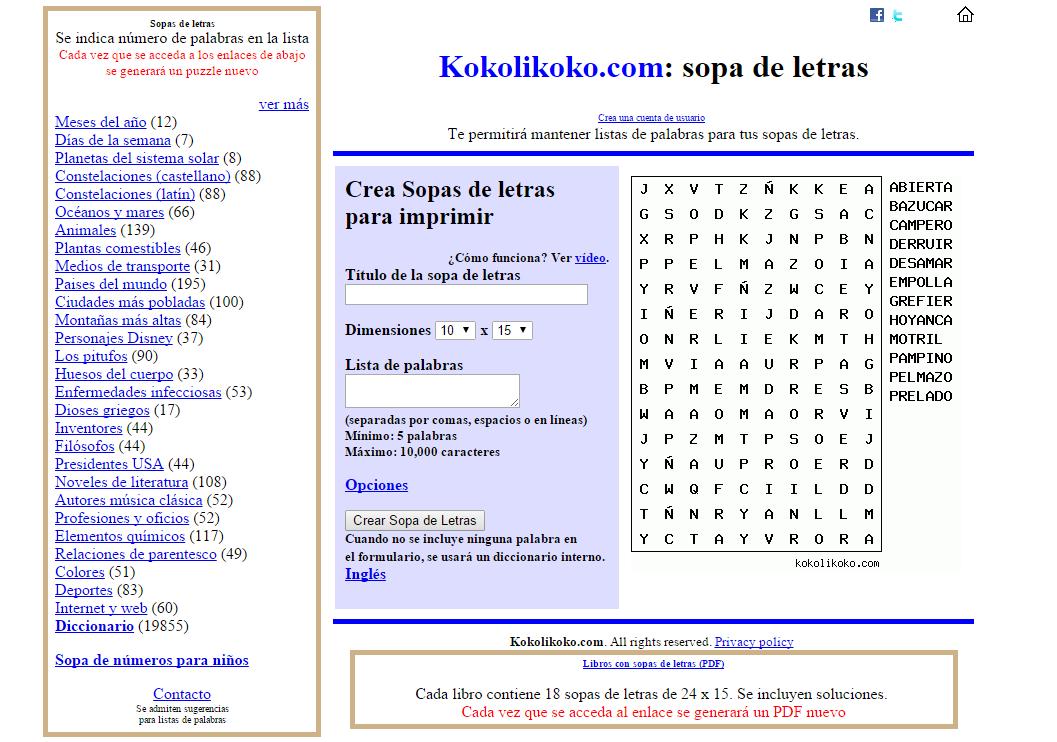 Generador de sopas de letras y crucigramas online - Recursos para ... 4d9a442ad1a