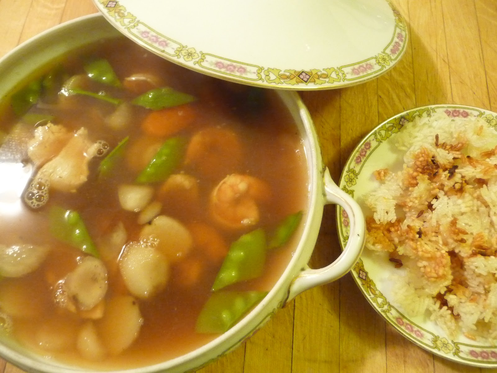 Princeton Eats Portland: Chinese Sizzling Rice Soup with Pork Stock