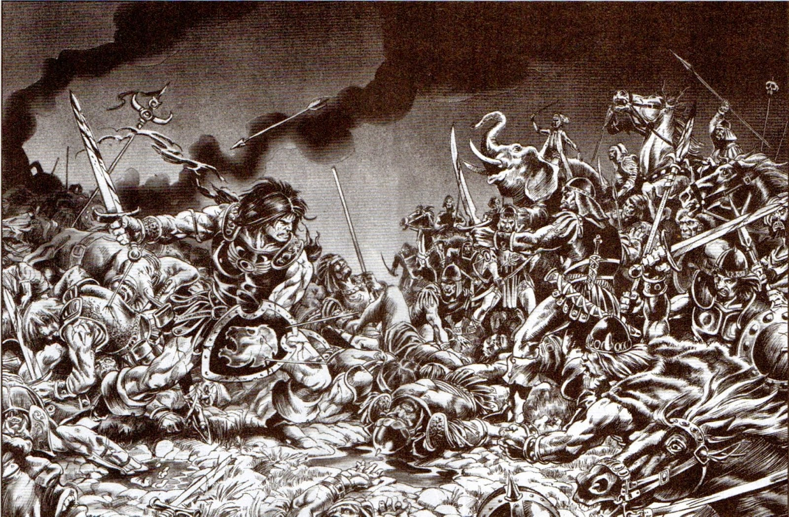 Página doble de la Ciudadela Escarlata de Conan por Frank Brunner