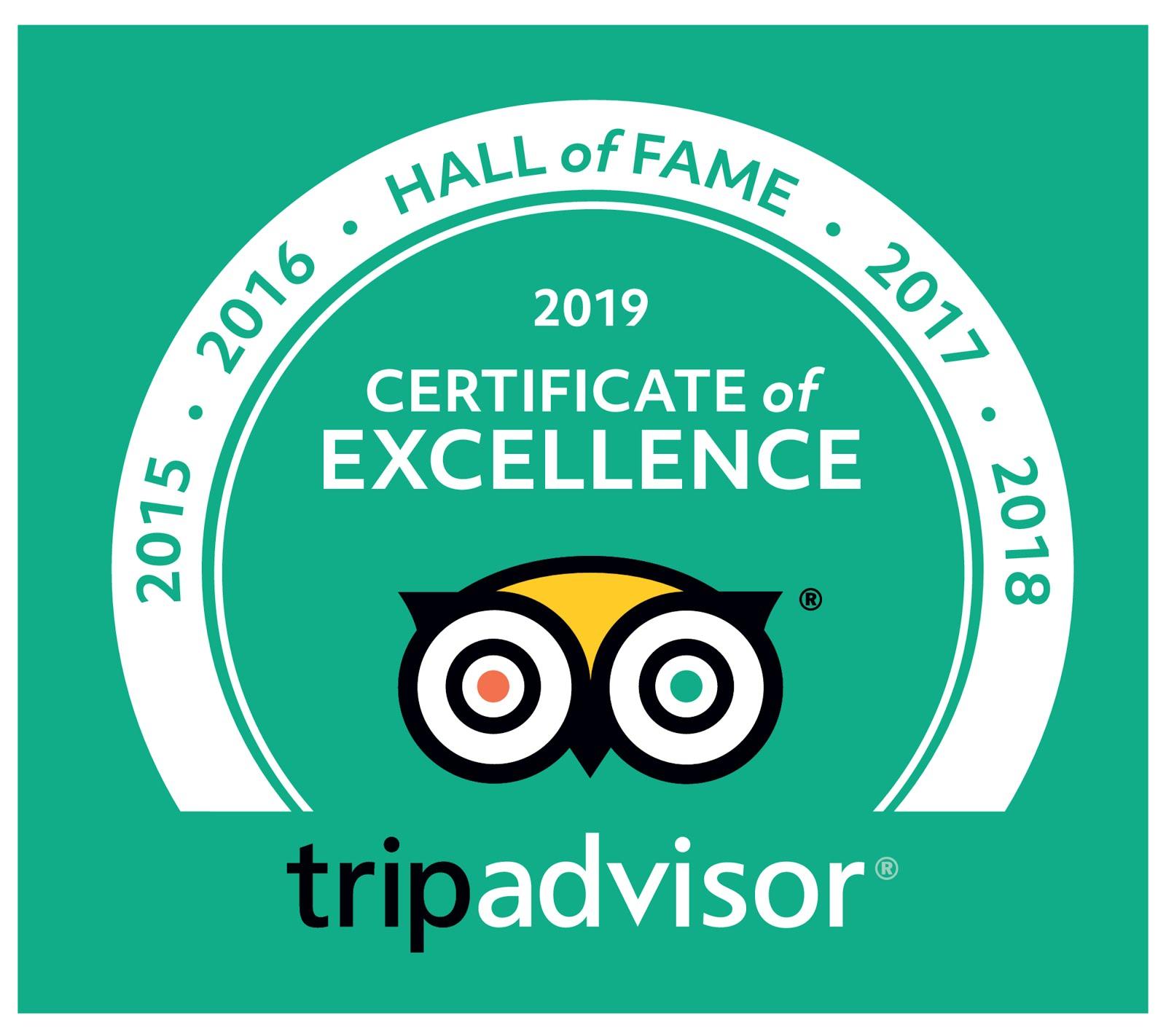 TripAdvisor Hall of Fame 2015-2019