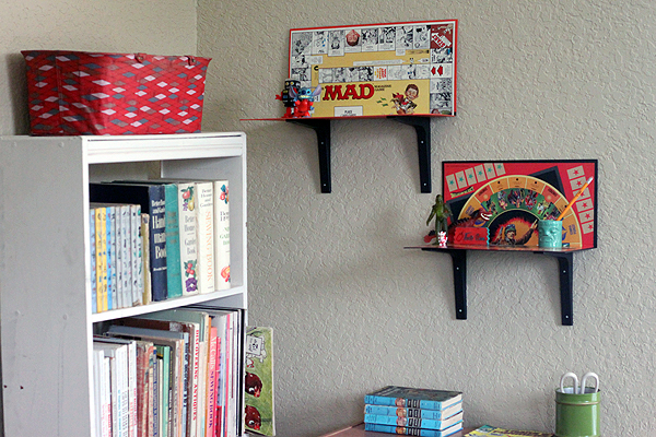 modify make your own easy game board shelves 3 ways diy simple shelving. Black Bedroom Furniture Sets. Home Design Ideas