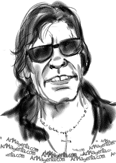 Jose Feliciano caricature cartoon. Portrait drawing by caricaturist Artmagenta.