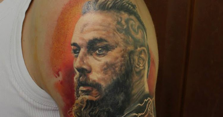 Ragnars tattoos ragnar lothbrok tattoo geek ideas for best for Ragnar head tattoo stencil