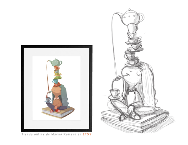ilustracion equilibrios de cafe. COMPRAR