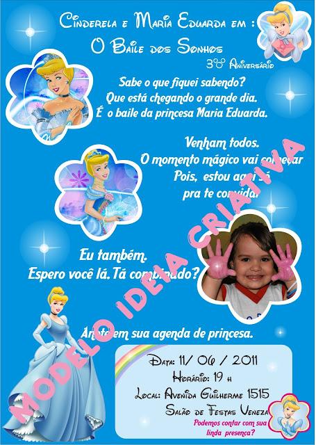 Convite Festa Aniversário Infantil Cinderela - Princesas