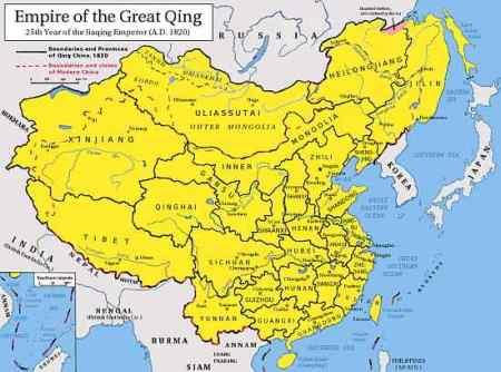 Peta Dinasti Qing (Dinasti Terakhir China)